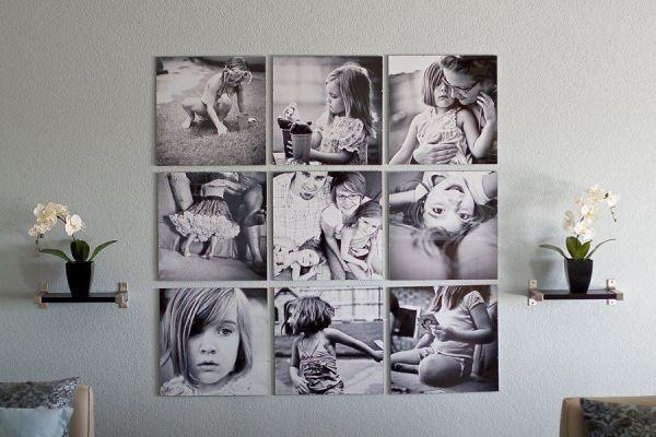 varianta expunere tablouri cu poze de familie imprimate pe panza decor perete living sau dormitor