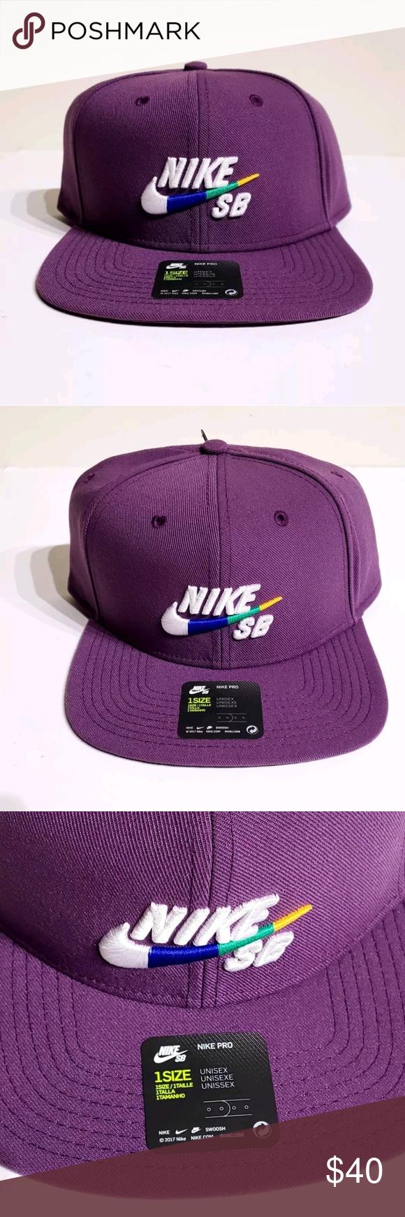 the best attitude 1bc89 57382 Nike Pro SB Logo Snapback Purple Hat 62863 517 New with Tags Nike Pro SB  Icon Logo Skateboarding Snapback Hat Style  628683-517 Size  One Size Fits  All ...