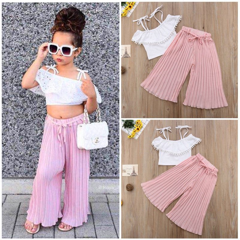 Kid Toddler Baby Girl Chiffon Clothes Halter Tops T Shirt Pants Outfits Summer