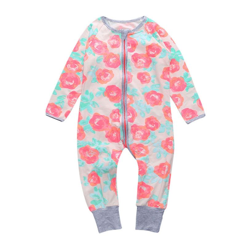 43dbe917970e Click to Buy    Rose Print Baby Rompers for Girl Soft Cotton Spring ...