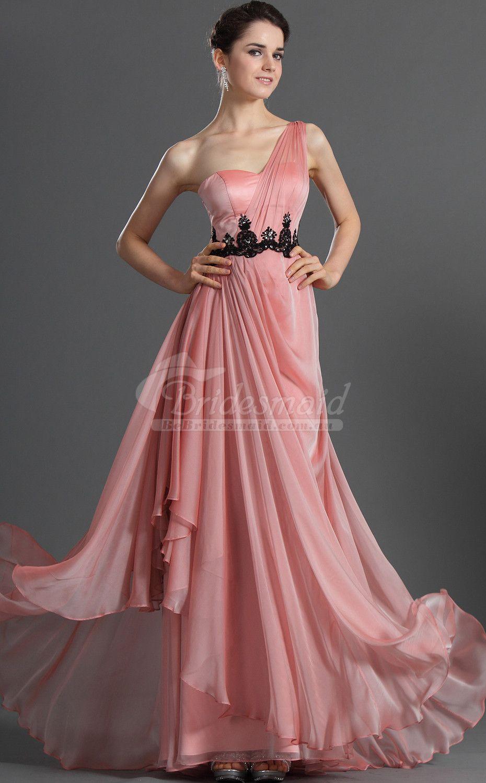 Formal Candy Pink Satin Chiffon One Shoulder Long Bridesmiad Dress ...