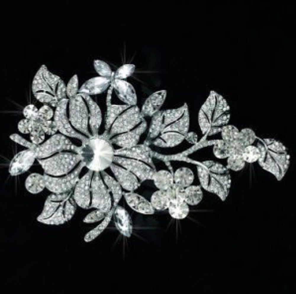 Vintage Inspired Fancy Cuts Crystal Rhinestone Brooch (Sparkle-1716A-U)