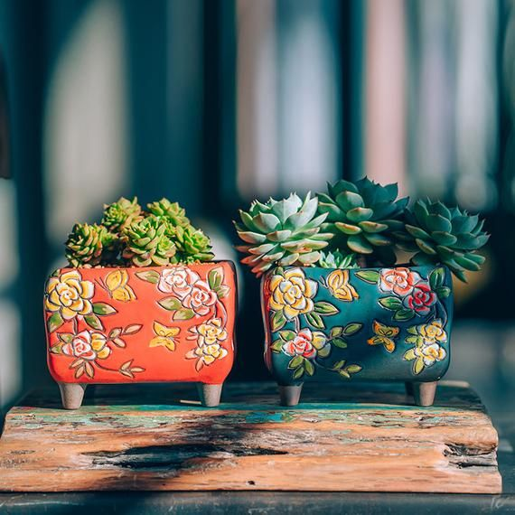 Set of 2 - Beautiful Flower Style Ceramic Planter,Succulent Planter,Ceramic Planter,Home Decor,Simple Gift,gift idea, Office Decor, Pot