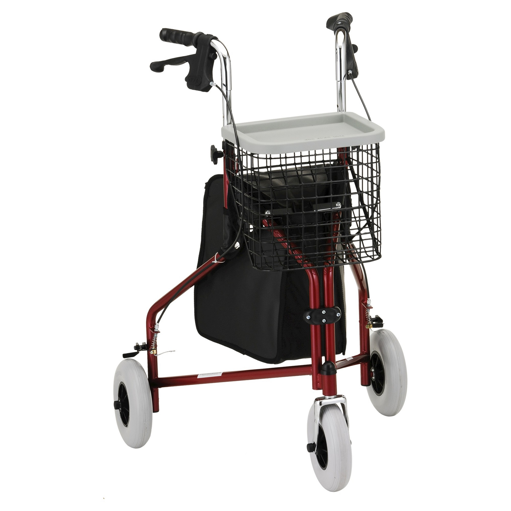 Nova Traveler 3 Wheel Rolling Walker Red 3rd wheel