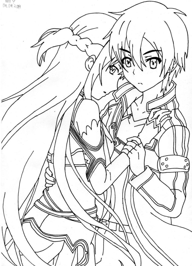 On online coloring and drawing - Sword Art Online Kirito Coloring Pages Wesharepics