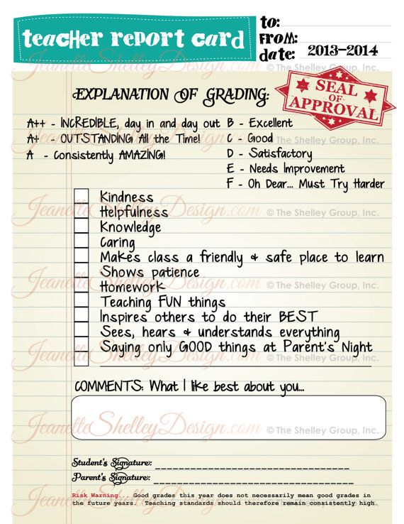DIY Printable Teacher Appreciation Report Card by MyPartySecret - report card