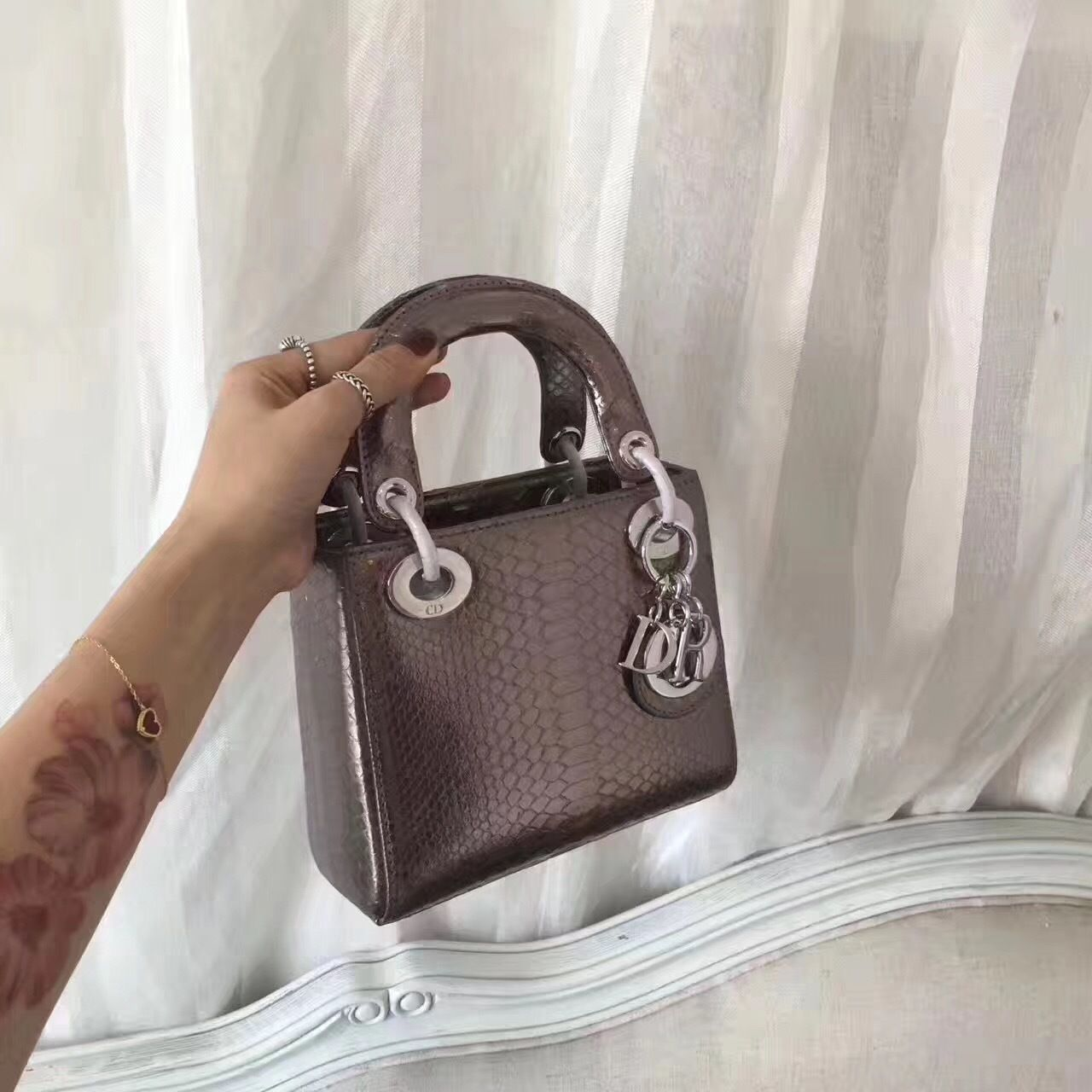 Christian Dior Lady Dior Bag with Python Skin 17cm Silver Hardware Lambskin  Leather Cruise 2017 Collection 8b7e4671bb927