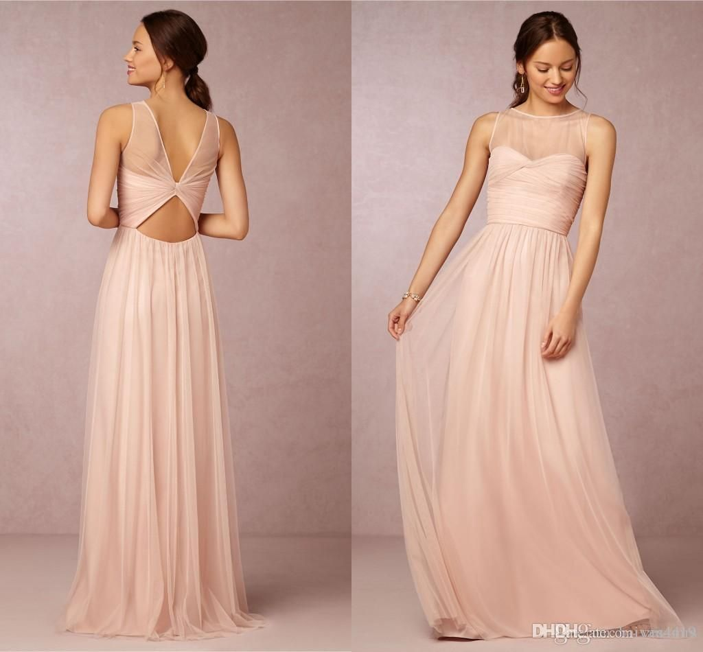 Bridesmaid dresses hot cheap crew neck tulle blush pink sheer