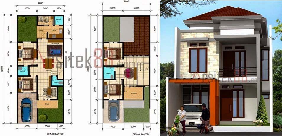Denah Rumah Minimalis 2 Lantai Ukuran 8x12 Architecture