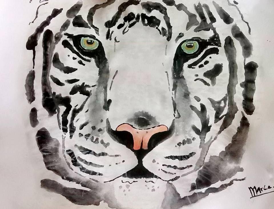 Watercolor White Tiger. | Dibujos