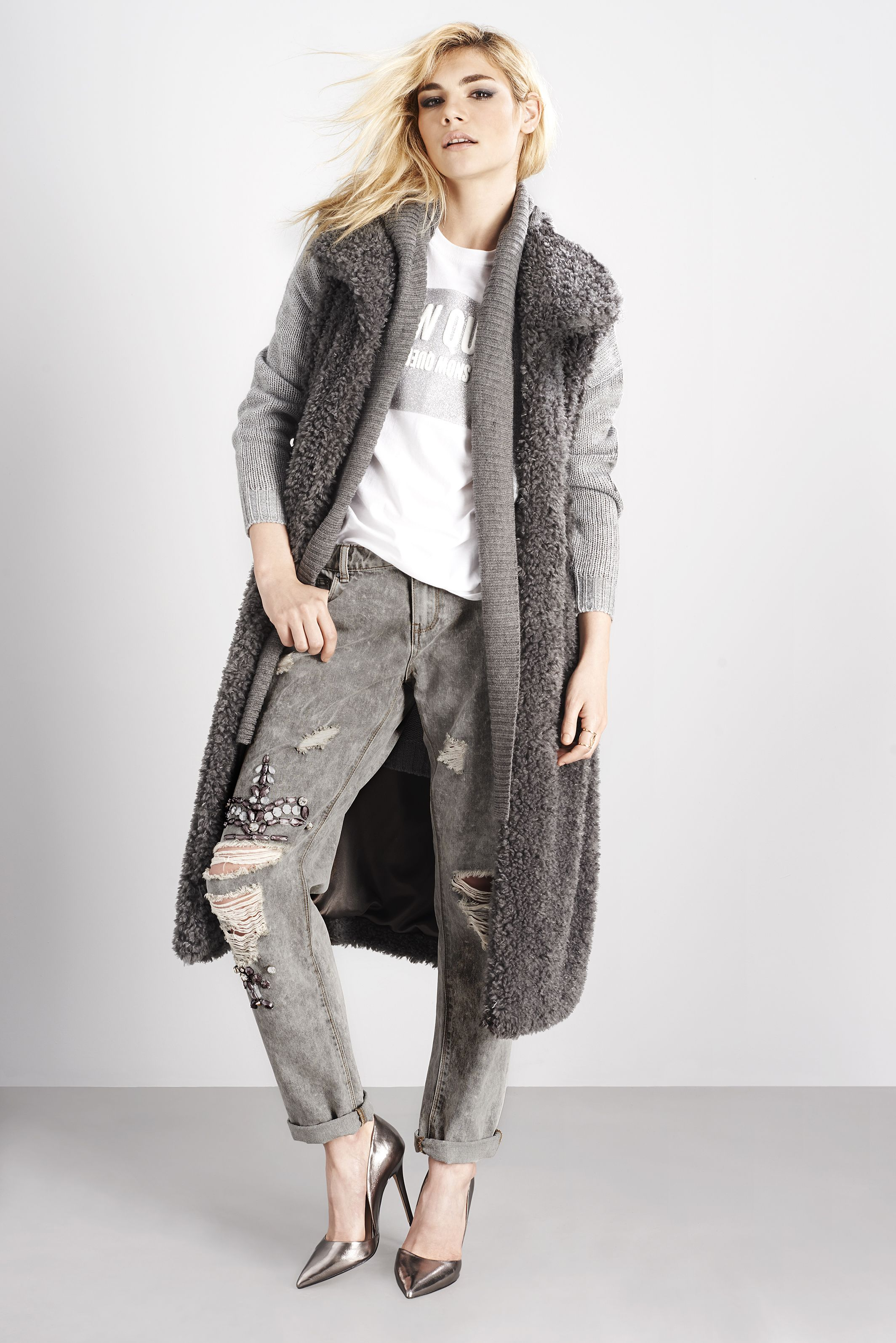 LOST INK CHARCOAL FUR GILET COLOUR BLOCKED HOODED LONG CARDIGAN ...