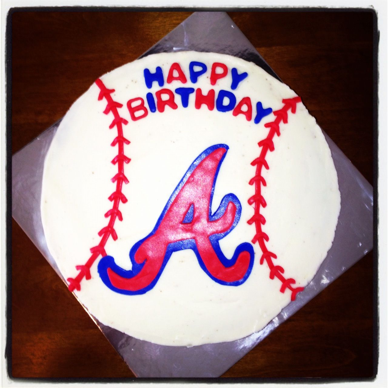Atlanta Braves Cake By Sweet E's Cakery Www.facebook.com/sweetescakery