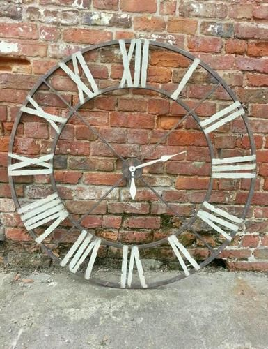 Huge Metal Iron Wall Clock Distressed Shabby Chic Wall Decor