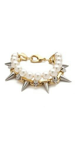 Joomi Lim pearl, skull, and spikes bracelet