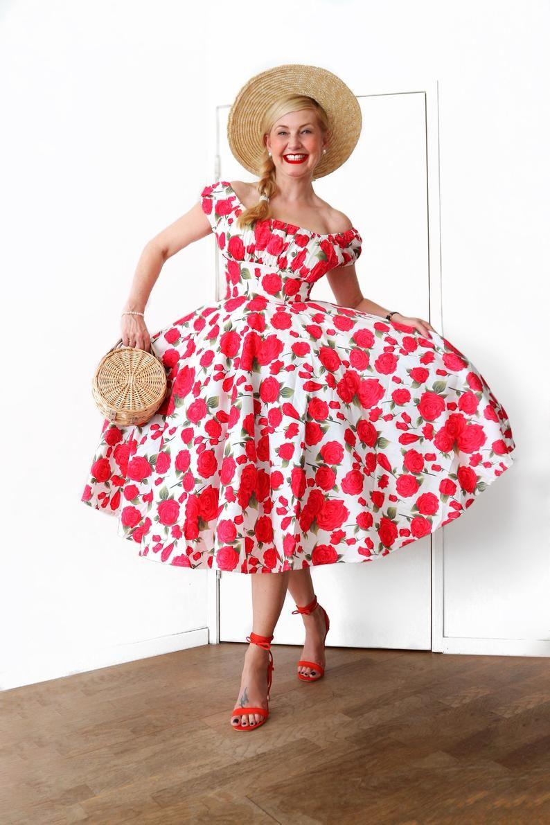 Vintage Dress Floral Dress Red Rose Dress Summer Dress Cotton Floral Bridesmaid Dress Sundress Retro Dress 50s Dress Pinup Dress Swing Dress Red Rose Dress Cotton Dress Summer Floral Bridesmaid Dresses [ 1191 x 794 Pixel ]