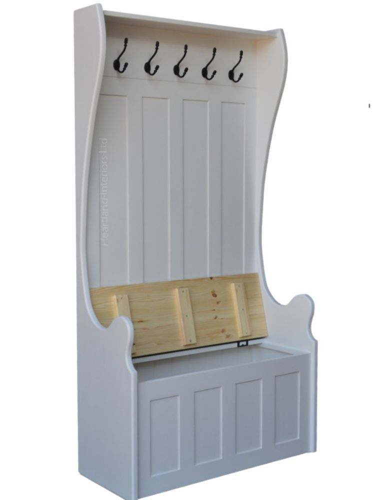 White Painted Monks Bench Tall Hallway Storage Seat With Integral