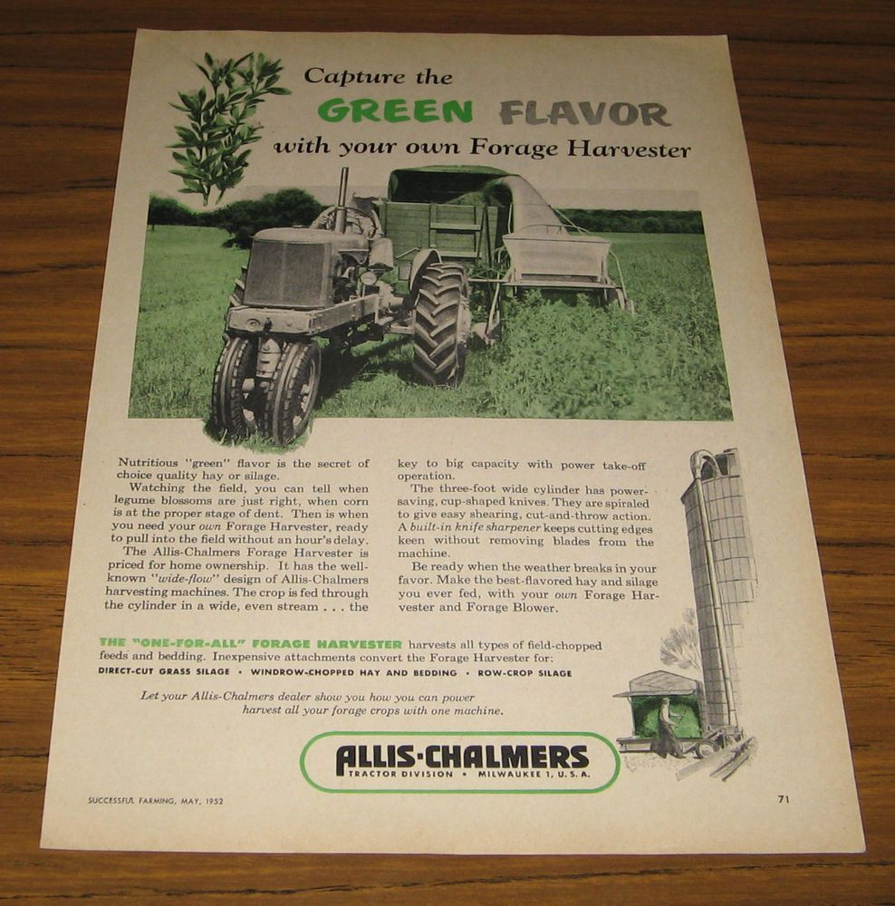 1952 Vintage Ad Allis-Chalmers Tractor Pulls Forage Harvester on ...