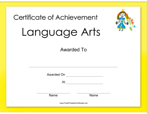 This Language Arts Achievement Certificate Features A HandDrawn