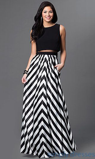 Long Mock Two-Piece Black and White Striped Dress