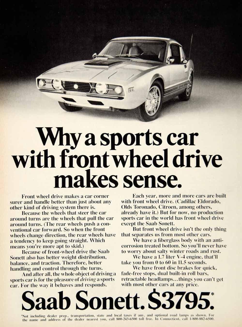 1972 Ad Saab Sonett Iii 2 Door Coupe Sports Car Clic Automobile Europe Ycd8