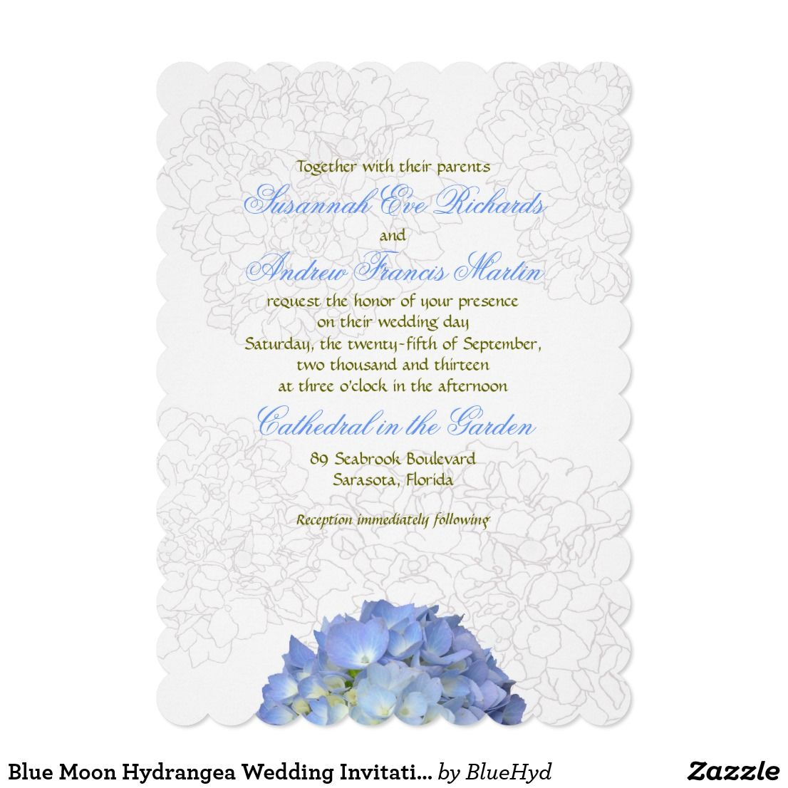 Blue Moon Hydrangea Wedding Invitation: Blue Moon Wedding Invitations At Websimilar.org