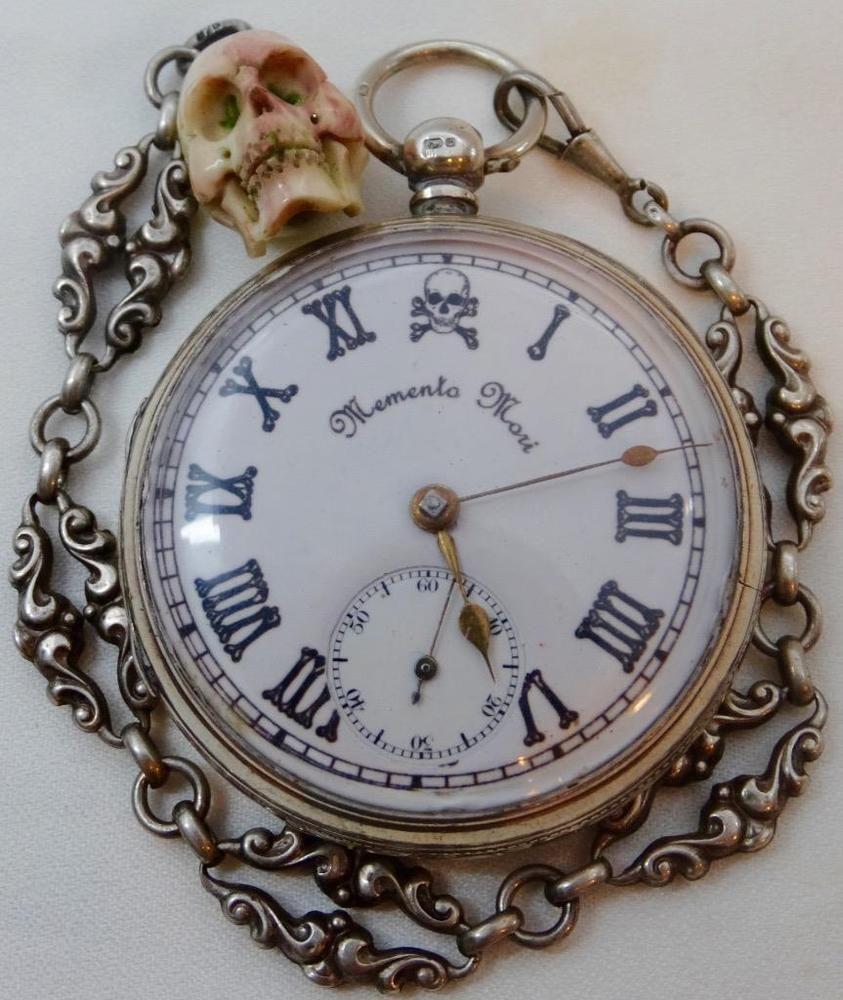 8eea2e812 Rare 19th C Victorian Doctor s Memento Mori Skulls heavy silver watch .J.Forrest