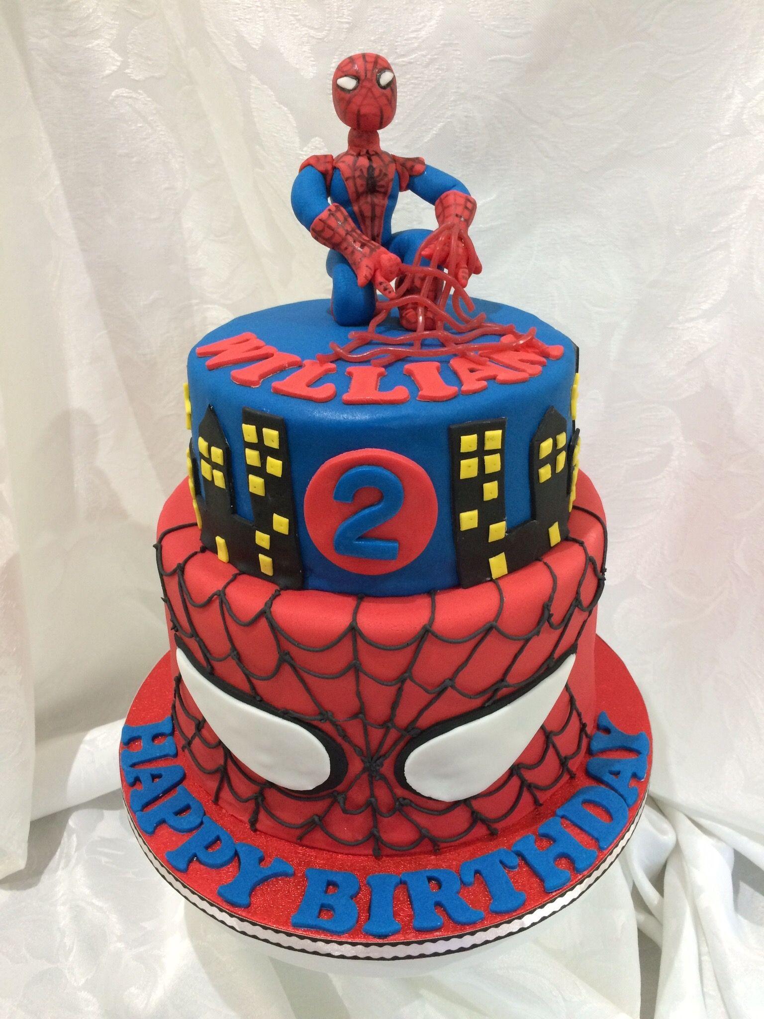 Spider Man 2 Tier Birthday Cake