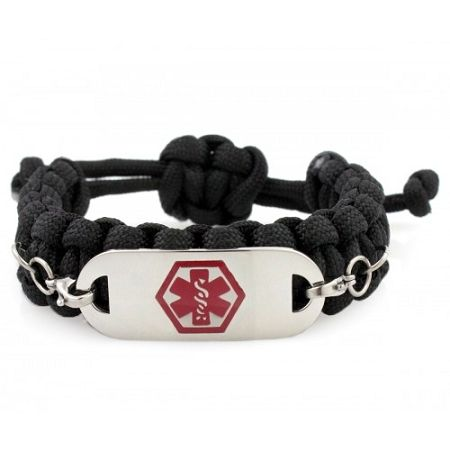 Paracord Medical Id Bracelet Black