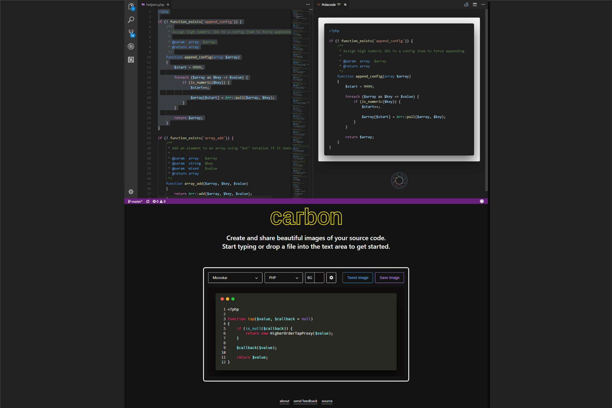 Create Code Screenshots from your editor using carbon and