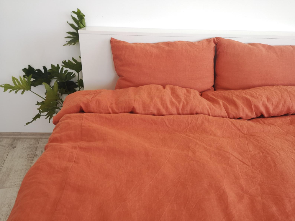 Burnt Orange Linen Duvet Cover 1 Duvet Cover Softened Etsy Linen Duvet Covers Linen Duvet Duvet Covers