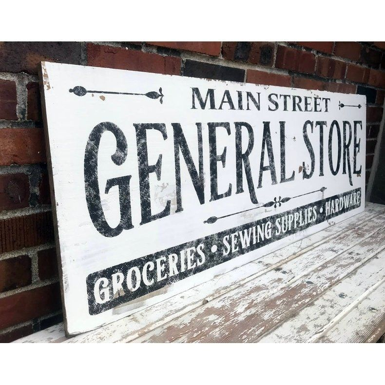 wood sign VTG Aged primitive GENERAL STORE Sign Prim Country Rustic Home Decor