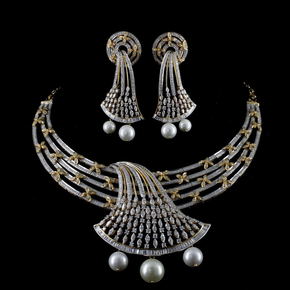 75014e88478d 17.92 TCW VS VVS -FG Diamond 18K Yellow Gold Necklace Set by Charu Jewels