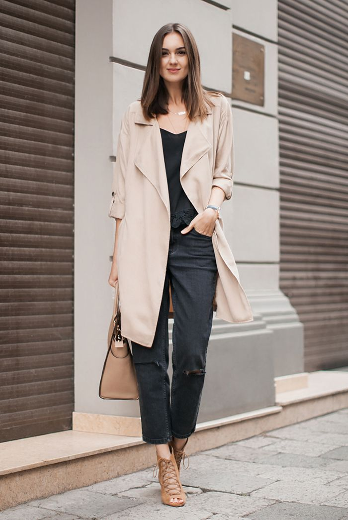 fall / winter - summer outfits - fall outfits - casual outfits - fall outfits - street style - street chic style - business casual - office wear - waterfall trench coat + black cami top + black ankle jeans + camel lace up heeled sandals + nude handbag