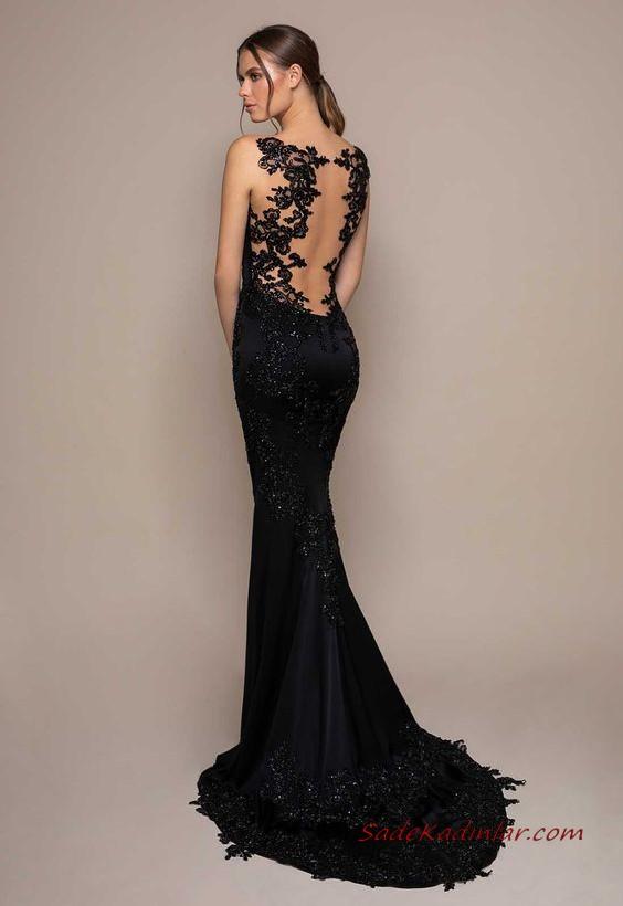 2020 Siyah Abiye Elbise Modelleri Siyah Uzun Kolsuz Sirt Dekolteli Dantel Kuyruklu The Dress Siyah Gelinlik Elbise
