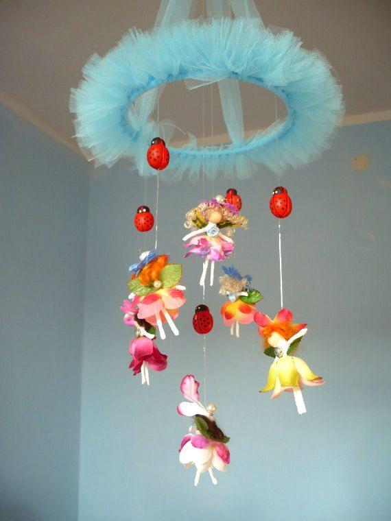 Baby mobile.Carousel children .6 Flower fairies . To suspend, mobile. Children's room decoration