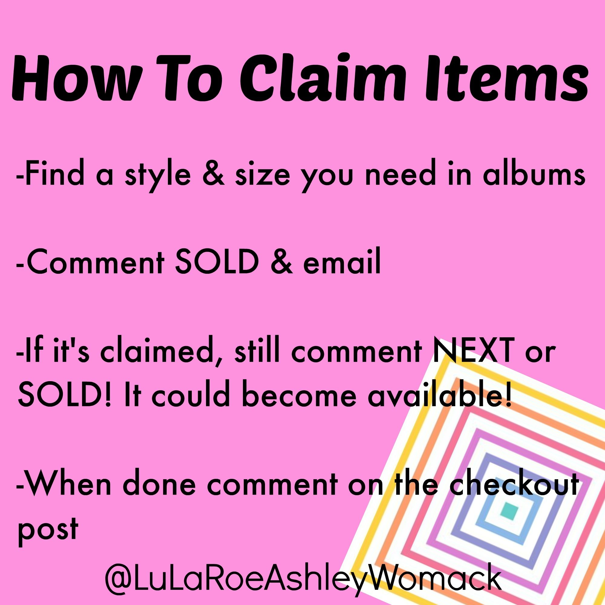 How to claim items during a LuLaRoe Facebook pop-up party!