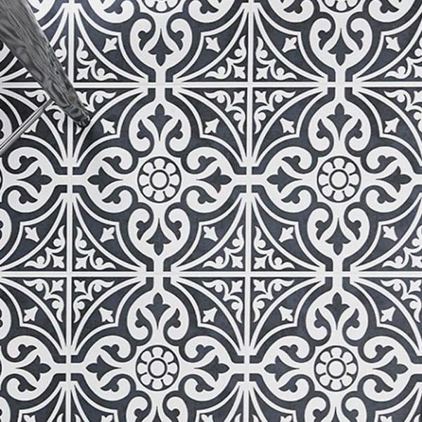 Black Patterned Wall And Floor Tiles