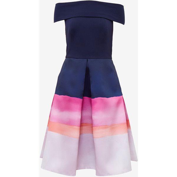 Ted Baker Rowing Stripe jacquard Bardot dress (€225) ❤ liked on ...