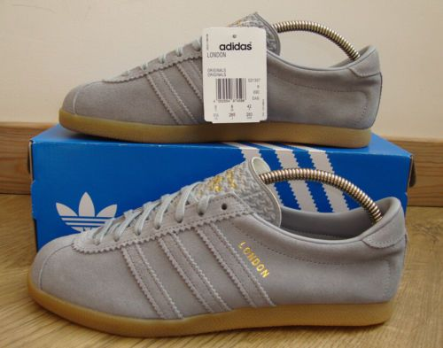 ADIDAS ORIGINALS LONDON TRAINERS - ALUMINIUM GREY/GUM - BNIB - SIZE UK 8,  EU 42