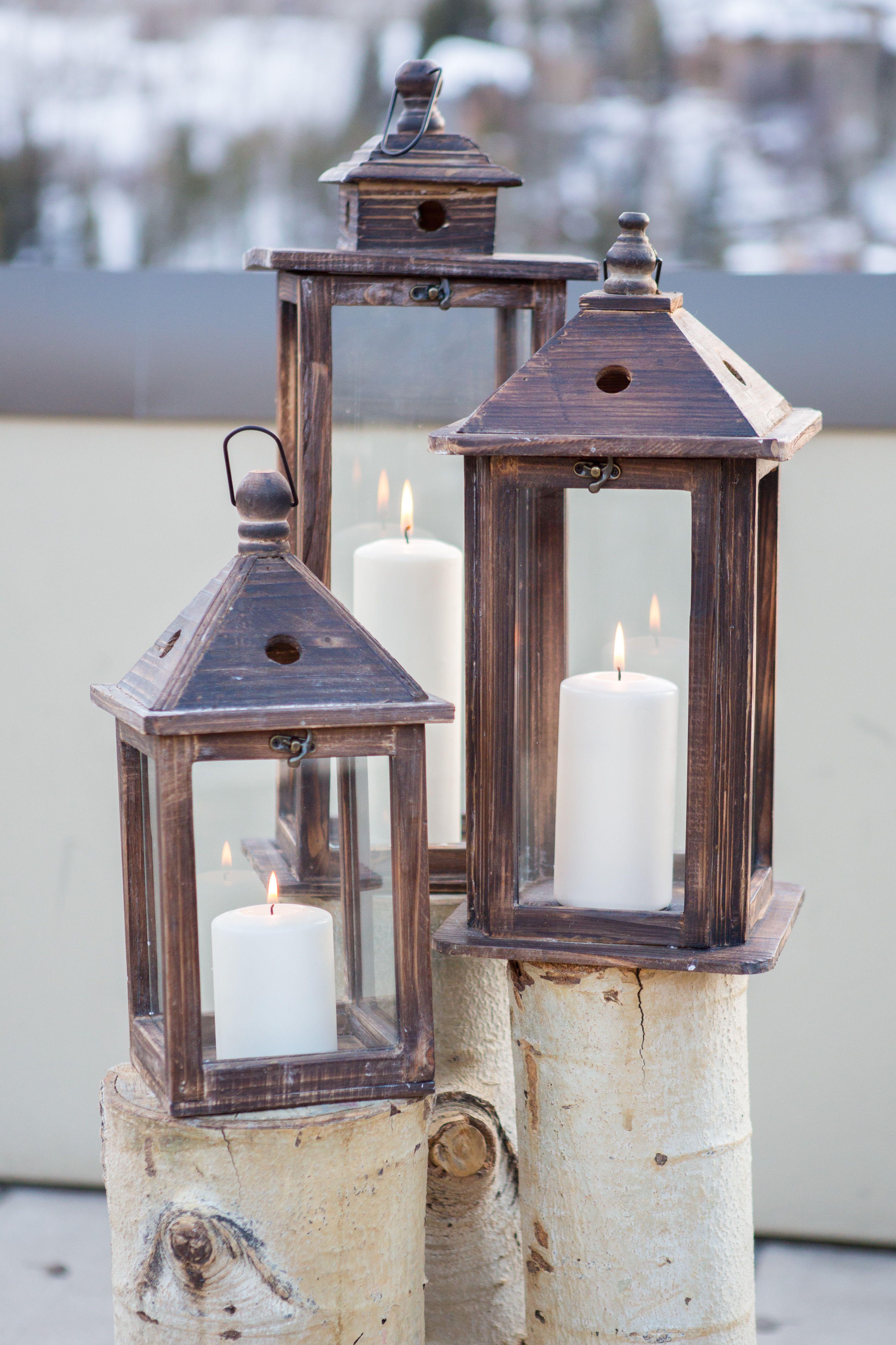 Lantern and Aspen Tree Alter Decor