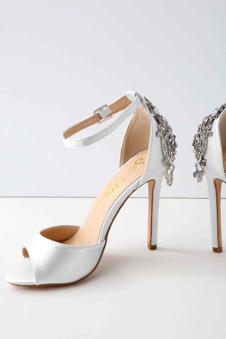 938791516 Arwen White Rhinestone Satin Peep-Toe Heels in 2019 | Prommm | Peep ...