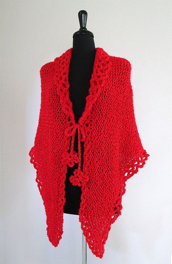 Scarlet Beauty Red Color Knitted Shawl Wrap with Crochet Cord Ties by Knitsome Studio