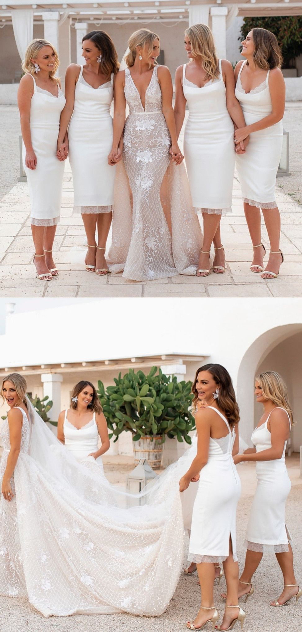 Elegant Tight Short White Bridesmaid Dresses Simple Wedding Party Go White Bridesmaid Dresses Short White Bridesmaid Dresses White Bridesmaid Dress Mismatched