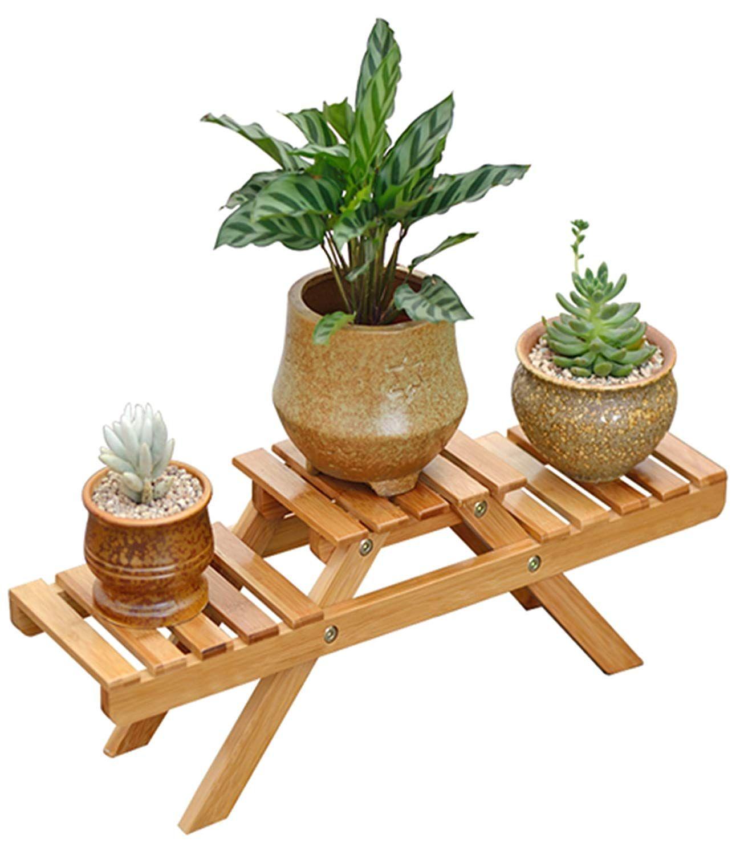 3 pot small plant stand succulent flower rack desk decor