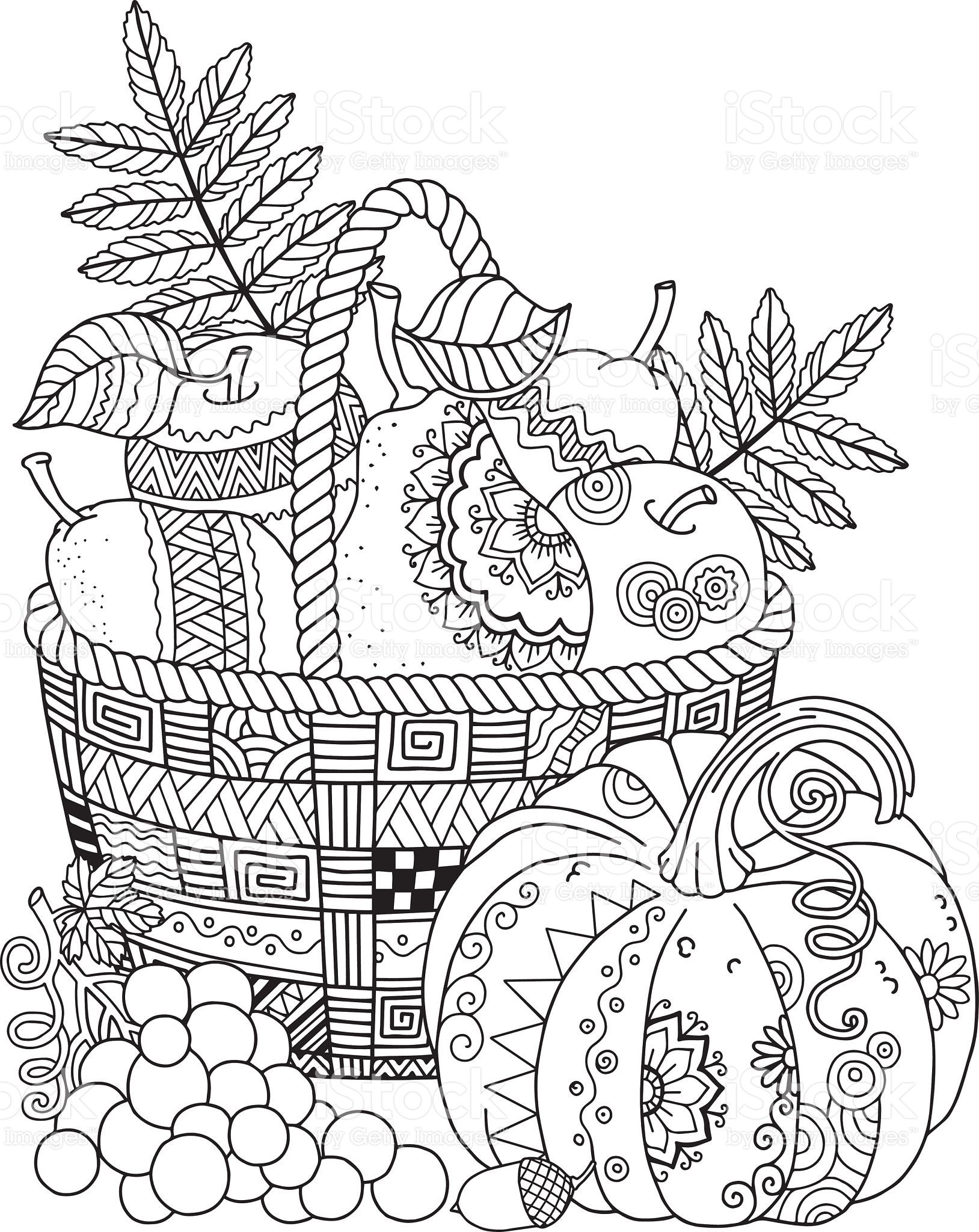 Basket with harvest fruits, pumpkin and grape. Thanksgiving Day ...