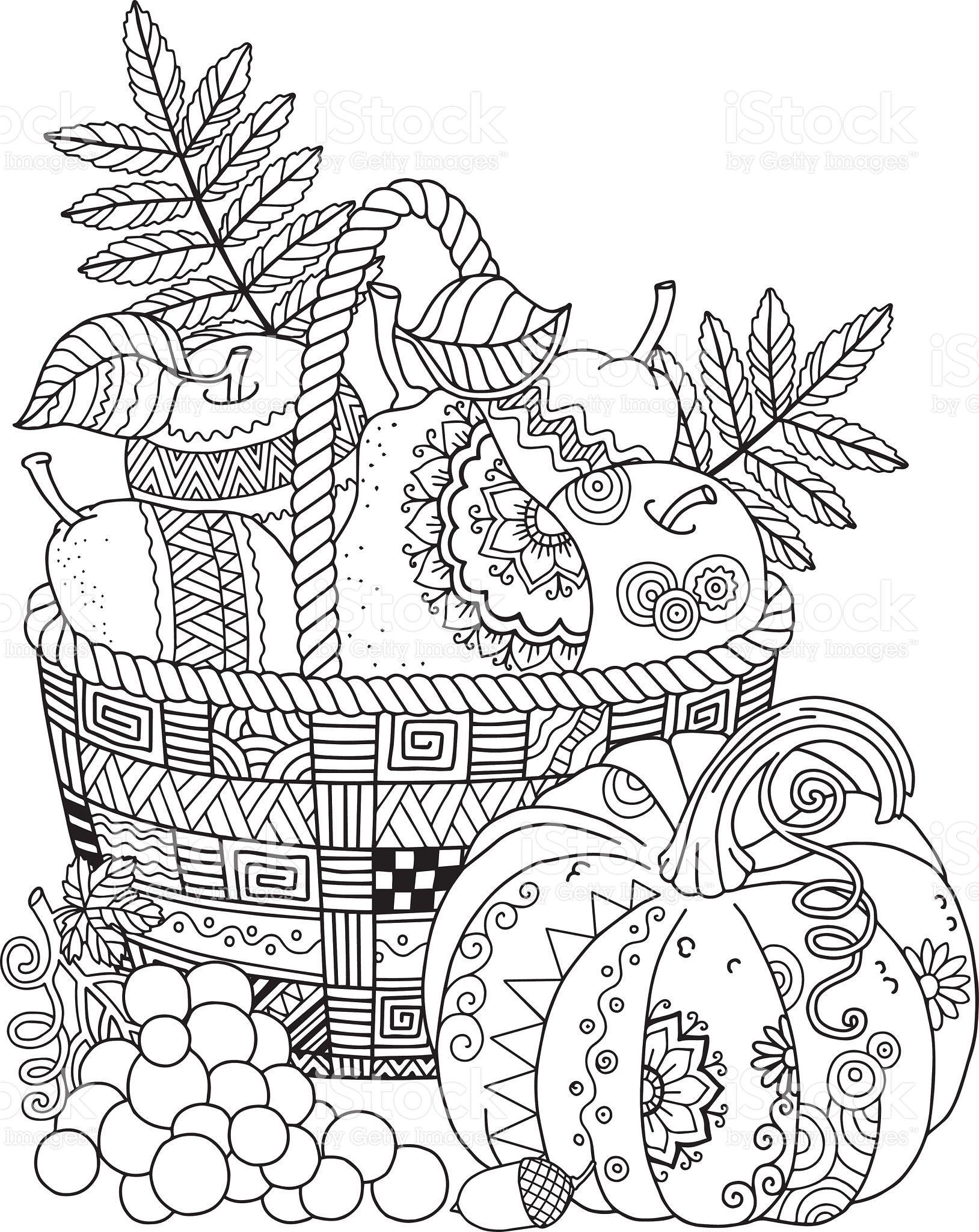 Basket With Harvest Fruits Pumpkin And G