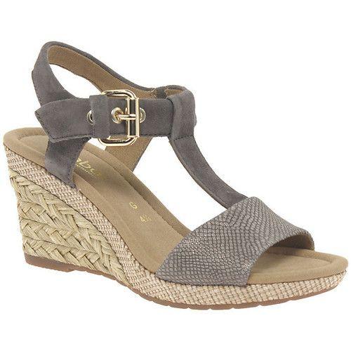 Sandals Gabor 62 824 Karen Women S T Bar Wedge Sandal Silver 84 95