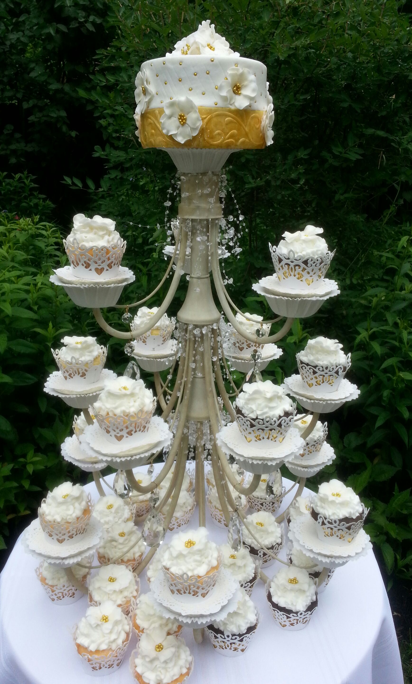 Made from a chandelier this one had 15 arms added chandelier cupcake stand made from a chandilier for a anniversary garden party arubaitofo Image collections