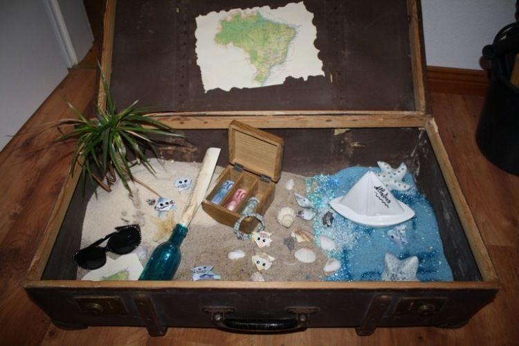 Geldgeschenke Fur Hochzeitsreise Holzkiste Mit Sand Basteln