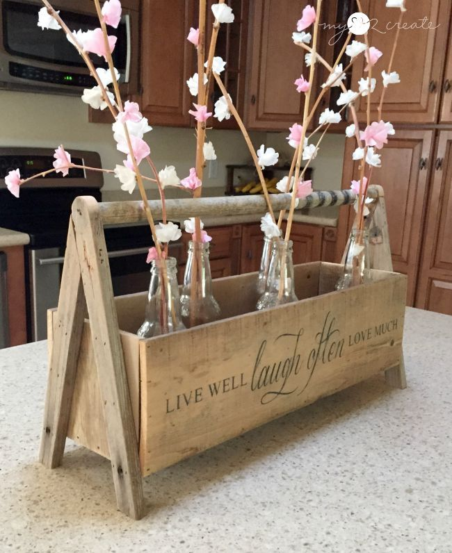 Love this crate and the stenciled phrase.  crate used for counter decor